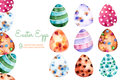 Colorful easter eggs clipart on white bqckground hand painted elements for your design collection can be used for your own Royalty Free Stock Photo