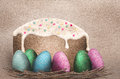 Colorful Easter Eggs and Easter cake Royalty Free Stock Images