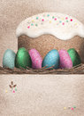 Colorful Easter Eggs and Easter cake Stock Images