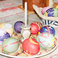 Colorful easter eggs egg in the fresh spring meadow Royalty Free Stock Photo