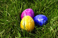 Colorful easter eggs in grass Royalty Free Stock Photography
