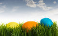 Colorful Easter eggs in the grass under blue sky Royalty Free Stock Photos