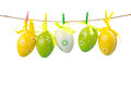 Colorful easter eggs hanging on a rope, isolated on white background Royalty Free Stock Photo