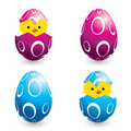Colorful easter eggs and hatching chicks Royalty Free Stock Images