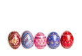 Colorful easter eggs isolated on white background horizontal photo Stock Image