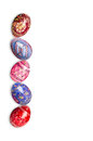 Colorful easter eggs isolated on white background vertical photo Royalty Free Stock Images
