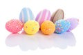 Colorful easter eggs over white background reflection Royalty Free Stock Photography