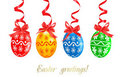 Colorful Easter Eggs with red ribbons. Stock Image