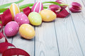 Colorful Easter Eggs And Ribbon