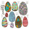 Colorful Easter eggs set in doodle style. Holiday collection for greeting card design. Vector illustration
