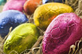 Colorful easter eggs in straw Royalty Free Stock Images