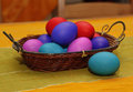 Colorful easter eggs on a table Royalty Free Stock Photography