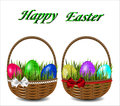 Colorful Easter eggs in a wicker basket with a bow.