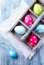 Colorful Easter Eggs in a Wooden Box Royalty Free Stock Photo