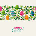 Colorful easter seamless pattern banner with leaves and colors eggs eps vector file organized in layers for easy editing Stock Photos