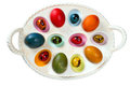 Colorful Easter tray with eggs Royalty Free Stock Photography