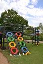 Colorful eco playground made from recycled materials Royalty Free Stock Images
