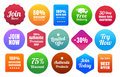 Colorful ecommerce badges join here percent discount percent money back free delivery limited offer day guarantee best offer and Royalty Free Stock Photography
