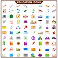 Colorful education icon vector illustration of complete set of Stock Photography