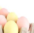 Colorful eggs are in the cardboard box Royalty Free Stock Images