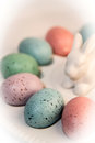 Colorful eggs on the Easter white ceramic dish
