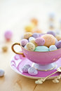 Colorful eggs happy easter cup Royalty Free Stock Photo