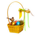 Colorful eggs in a wicker over white background Stock Photos