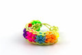 Colorful of elastic rainbow loom bands on white background Royalty Free Stock Photo