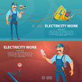 Colorful Electricity Work Horizontal Banners Royalty Free Stock Photo