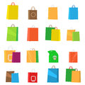 Colorful Empty Shopping Bags. Isolated Vector Set.