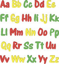 Colorful English alphabet different colors on a white background