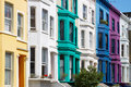 Colorful english houses facades in London Royalty Free Stock Photo