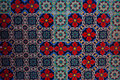Colorful eramic tiles with flower plant ornament
