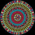 Colorful ethnicity round ornament, mosaic vector