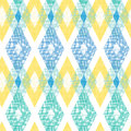 Colorful fabric ikat diamond seamless pattern vector background with hand drawn elements Stock Photography
