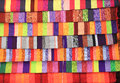 Colorful fabric at market in marocco background Stock Image
