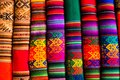 Colorful fabric at market in peru south america Stock Photography