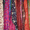 Colorful Fabric and Scarves Stock Photo