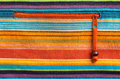Colorful fabric texture with orange zipper mexican style Stock Photos