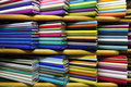 Colorful fabrics on sale Royalty Free Stock Images