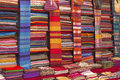 Colorful fabrics for sale on a market in morocco africa Royalty Free Stock Image