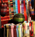 Colorful fabrics for sale in Morocco Stock Photos