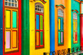 Colorful facade of building in little india singapore Stock Images