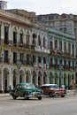 Colorful facades buildings across from the capitol building in havana Stock Image