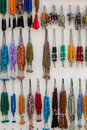 Colorful fake necklaces in a local shop stones at one of the markets crete greece Stock Photo