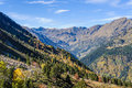Colorful Fall landscape in the Valley of Estanyo River, Andorra Royalty Free Stock Photo