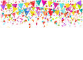 Colorful falling tiny confetti pieces and colored pennants. Vector background.