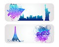 Colorful Famous City banner Stock Images