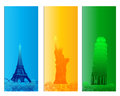 Colorful famous city banner backround Stock Image