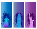 Colorful famous city banner backround Royalty Free Stock Image